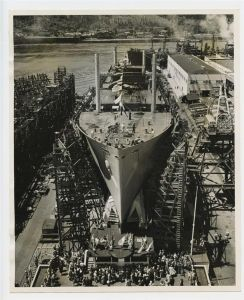 Liberty Ship under construction at the Kaiser Shipyards in Portland, Oregon.