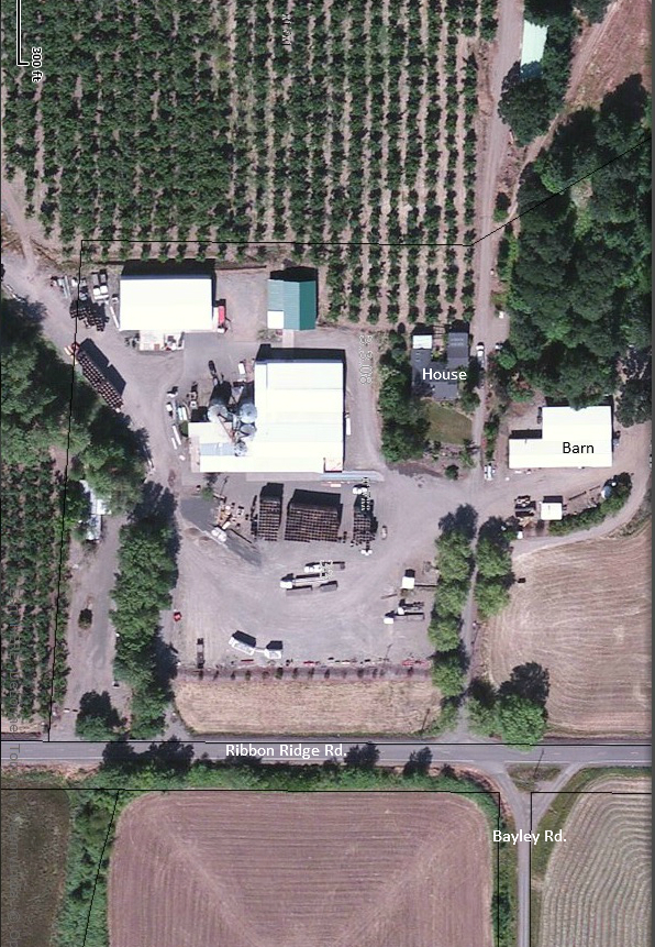 Aerial view of George Packing Company, formerly the Patton Place.  Photo courtesy of the Yamhill County Assessor's Office.