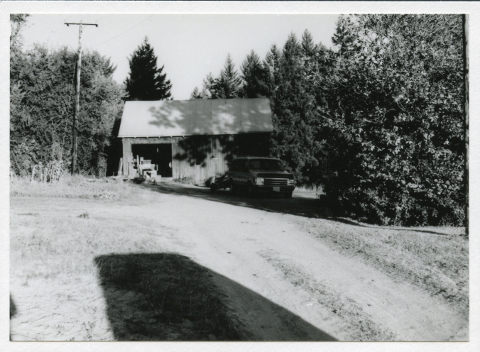Old garage still standing on the Sattler Place  in 1993.  The original home's foundation stands behind the present house.