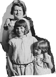 Martha Fergus with daughters Merle and Vaudis.